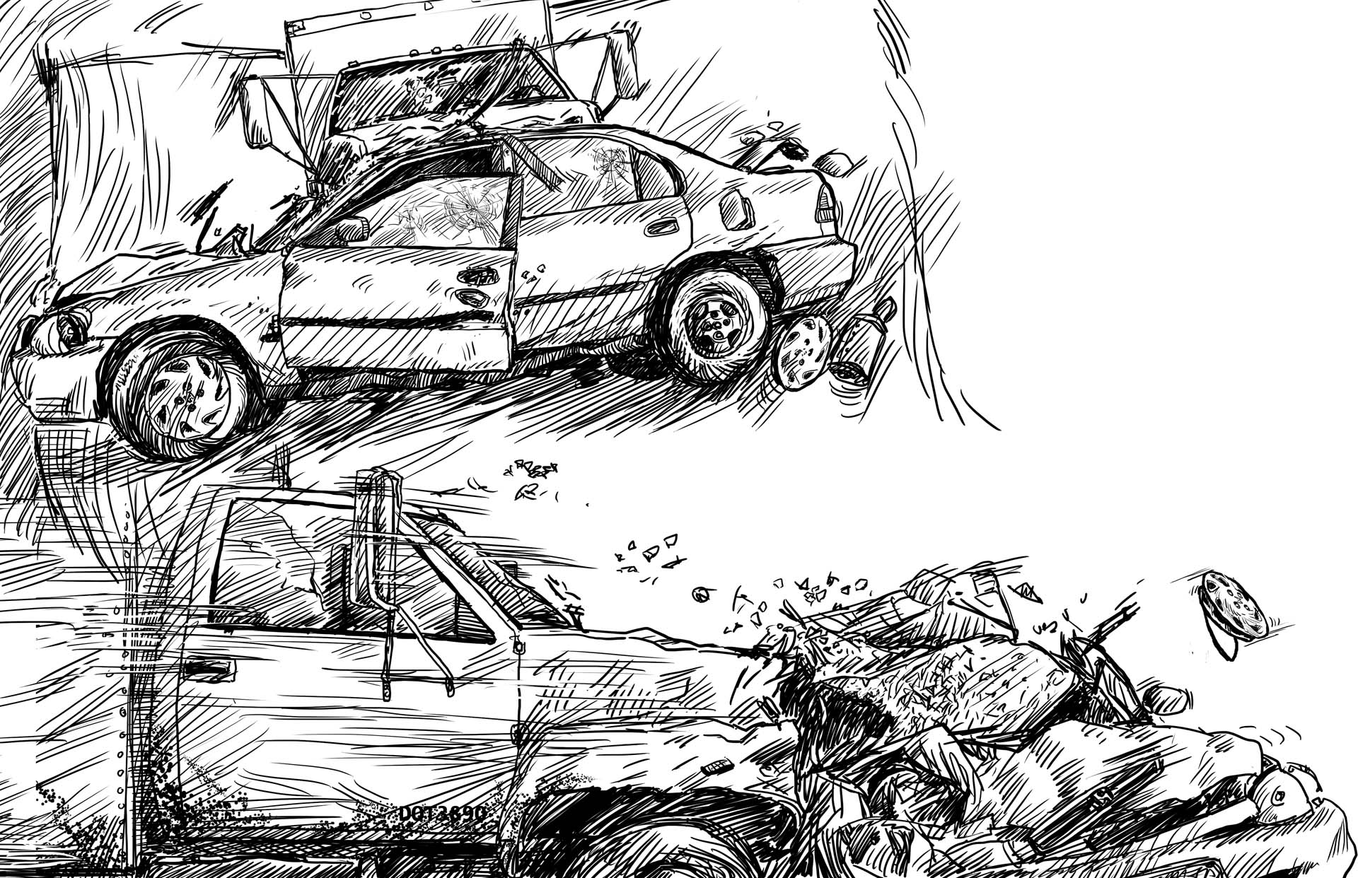 Car Wreck Coloring Pages : Cars crashing drawing